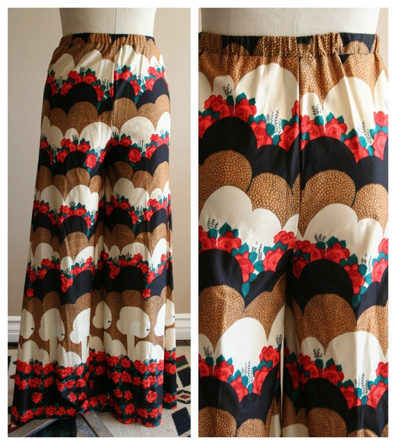 70's palazzo pants with great print- Size 13- vintage 1970's pants- roses- flare- avant garde- funk- retro