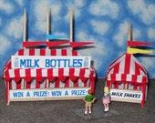 O Scale Carnival Game / Concession Tent Set- Milk Bottles