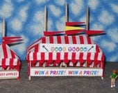 O Scale Carnival Game/Concession Tent Set- Dart Throw, Candy Apples