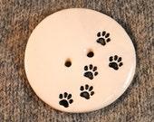 Paw Prints Button Ceramic Statement Button Bold Black & White Monochrome nature animals