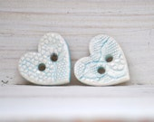 Blue Heart Buttons The Ice Queen's frozen heart handmade ceramic Lace buttons one pair