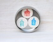 Beach Hut Magnets Ceramic set of 3 in a tin Blue, Turquoise & Red Fridge Magnets