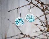 Springtime star Earrings Ceramic beads on sterling silver hoop earrings Aqua turquoise