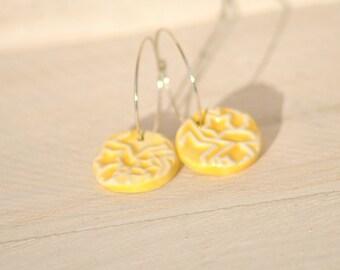 SALE Star Earrings pretty textured Ceramic beads on sterling silver hoop earrings