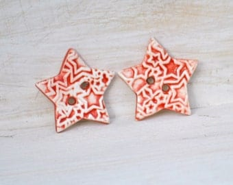 ceramic Star Buttons a pair of handmade ceramic buttons in Bold Red