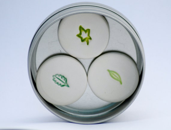 Green Leaves Magnets set of 3 in a tin, Spring Woodland leaves, Forrest Fridge Magnets, Green Magnets, Homemade magnets, Home decor SALE