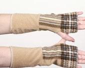 tan plaid polar fleece arm warmers
