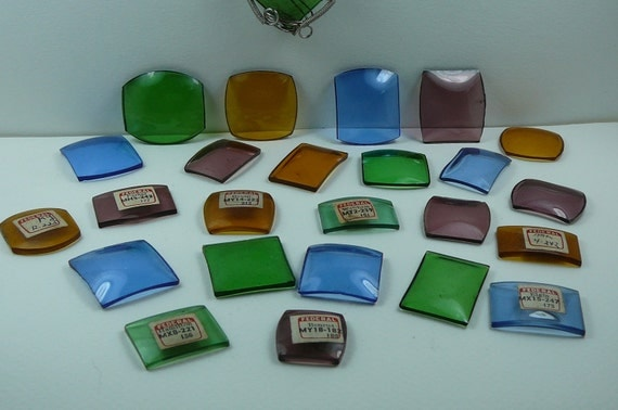 Vintage Colored Wrist Watch Crystals / Great for Glass Art or wire Wrapping
