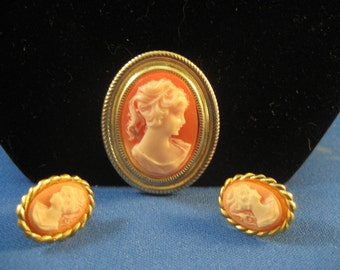 Vintage Cameo and Earrings from Hong Kong