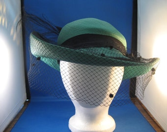 Adolfo II Green Straw and Net Hat