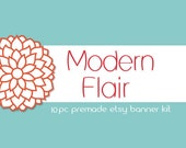 Modern Flair-10pc Premade Esty banner Kit w/business card and sticker