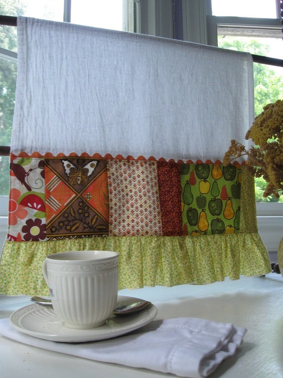 Patchwork and ruffle flour sack dish/tea towel-vintage and new