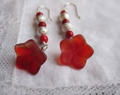 Red pressed glass flower earrings with red marble and sparkly silver plated beads