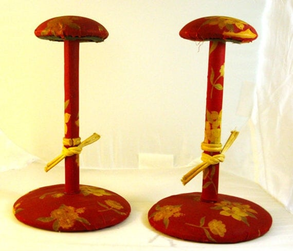 SALE Pair of 1940s Vintage Cloth Covered Hat Stands