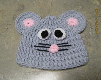 Mouse Hat crochet newborn size photo prop / costume