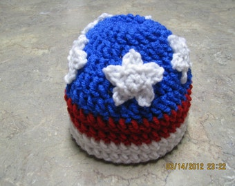 Patriotic hat crochet newborn size photo prop / costume