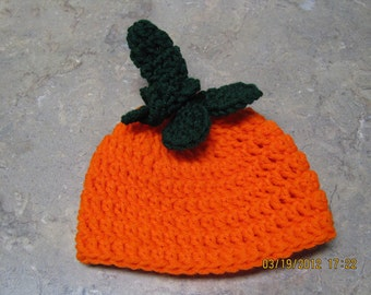 Pumpkin hat crochet newborn size photo prop / costume