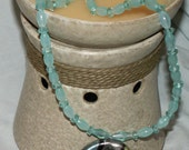 Blue/Green Glass and Beaded Necklace