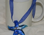 Blue Ribbon Necklace with Blue Glass Star