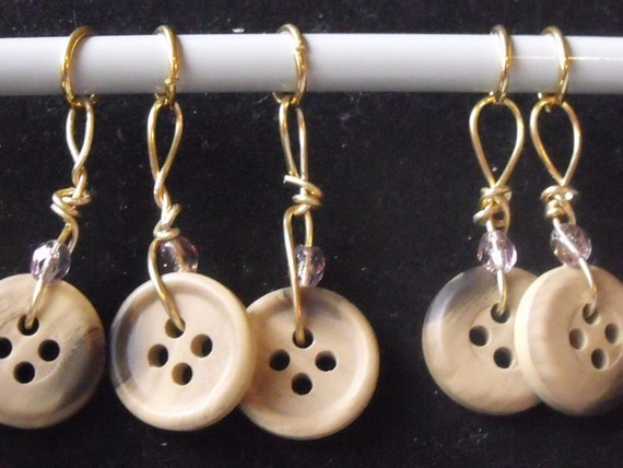 5 Brown Button Knitting Stitch Markers