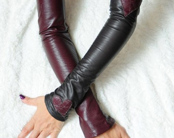 Hearts Leather sleeves or fingerless gloves also known as Kittys