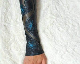 Gypsy Leather sleeves or fingerless gloves also known as -Kittys-