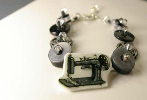 Sewing Machine and Gears Button Bracelet