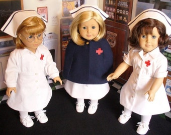 Doll Clothes Pattern, 1940-1950 Nurses' Uniforms, Caps and Cape, No 1008