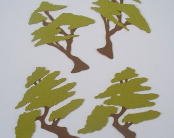 Set of 4 Japanese Tree Die Cut - 4 inches