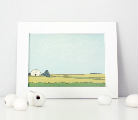 Little White Barn 5x7 art print, farmhouse landscape illustration, countryside, prairie, farm art, blue, green, fields, americana