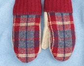 Recycled Sweater Mittens - Women's Small/ Medium  FREE SHIPPING