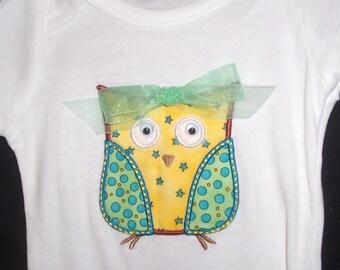 Little Owl  Appliqued Onesie or tee