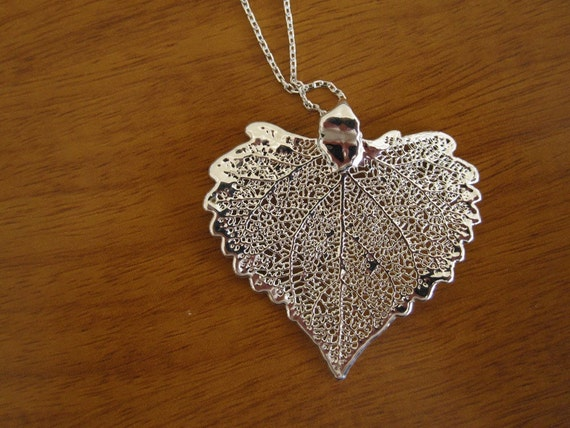 Half Price SALE // Real Cottonwood Leaf Preserved in Silver Necklace