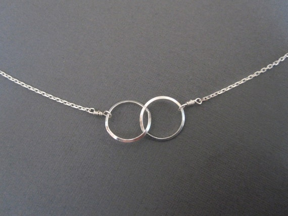 Sterling Silver Double Circle Eternity Necklace