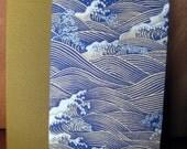 Handbound Slim Journal Lined Blue Gold Ocean Waves