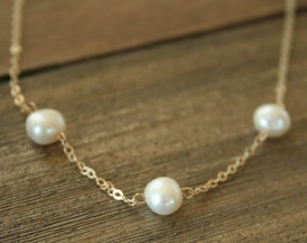 The Three Pearl Necklace - 14K Gold filled simple elegant freshwater pearl jewelry