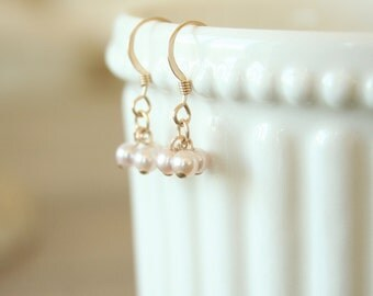 Pink Pearl Cluster Earrings - On Gold Filled Hooks simple dainty jewelry