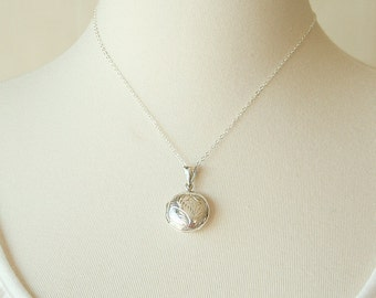 Etched Sterling Silver Round Locket