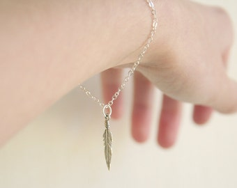 Delicate Modern Feather Bracelet- Sterling Silver- simple everyday charm jewelry
