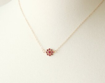 Ruby Blossom Necklace /  14K gold filled chain / simple everyday modern jewelry