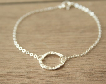 Simplistic Sterling Circle Bracelet- delicate everyday dainty jewelry