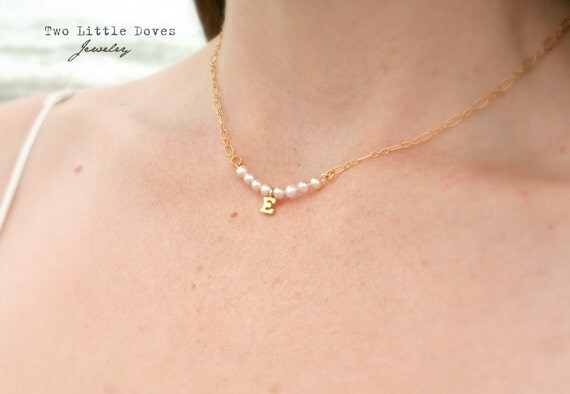 CUSTOM Pearl Paradise - Choose Your Own Initial- 14K Gold Filled Chain - Everyday simple delicate personal jewelry