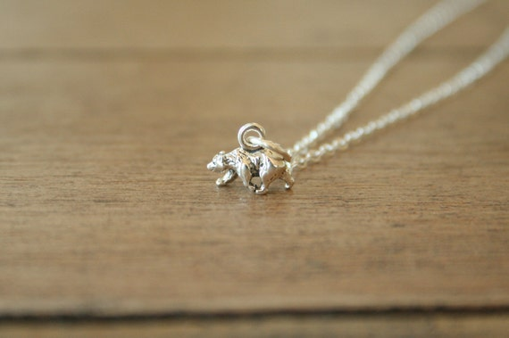 Tiny Polar Bear Necklace - Simple Sterling Silver
