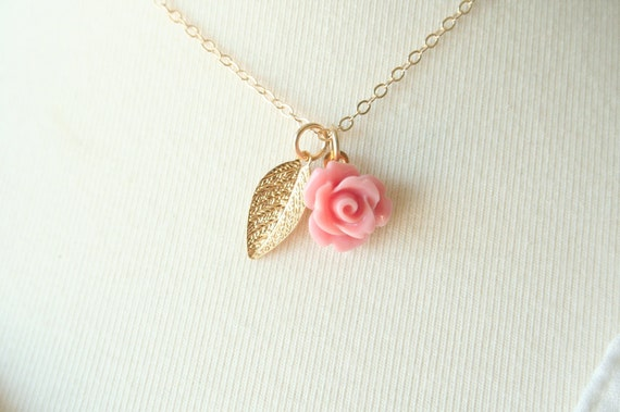 Rose Garden - On 14K Gold Filled Chain simple everyday delicate Necklace