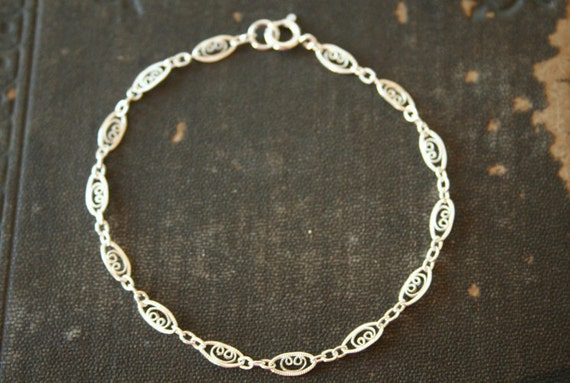 Lacy - A Unique Sterling Silver Filigree Bracelet - simple everyday bracelet