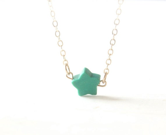 Dainty turquoise star necklace - on 14K gold filled chain