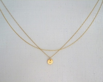 Dainty Double Chain Initial Necklace, Delicate Gold Filled Necklace With An Initial Disk, Tiny Initial Necklace