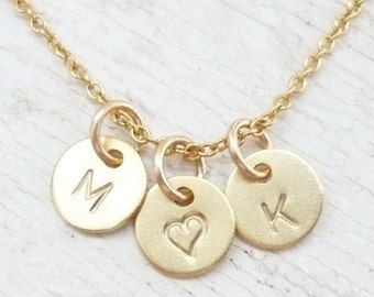 Initial Necklace, Alphabet Necklace, Initial Heart Necklace, Love Initial Necklace, Gold Love Necklace, Gold Initial Necklace