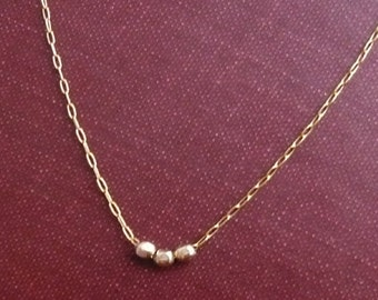 Trio - Faceted Goldfill Beads Necklace