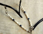 Beaded Gemstone Eyeglass Holder Blue Lapis Mother of Pearl Gemstone Leash